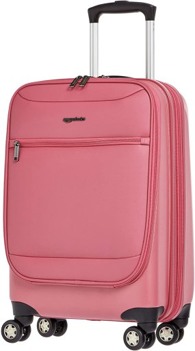 Amazon Basics Hybrid Exterior Carry-On Expandable Spinner Luggage Suitcase - 22 Inch, Pink