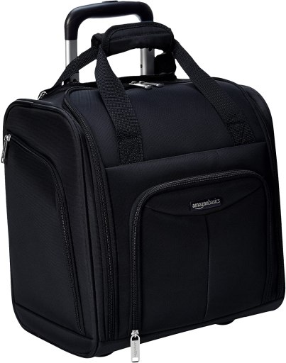 Amazon Basics Underseat Carry-On Rolling Travel Luggage Bag with Wheels, 14 Inches, Black