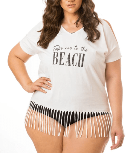 Take Me To The Beach Fringe Cover Up White | 4-46