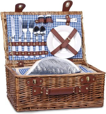 This blue gingham Picnic Basket Set with Insulated Cooler is perfect for two!