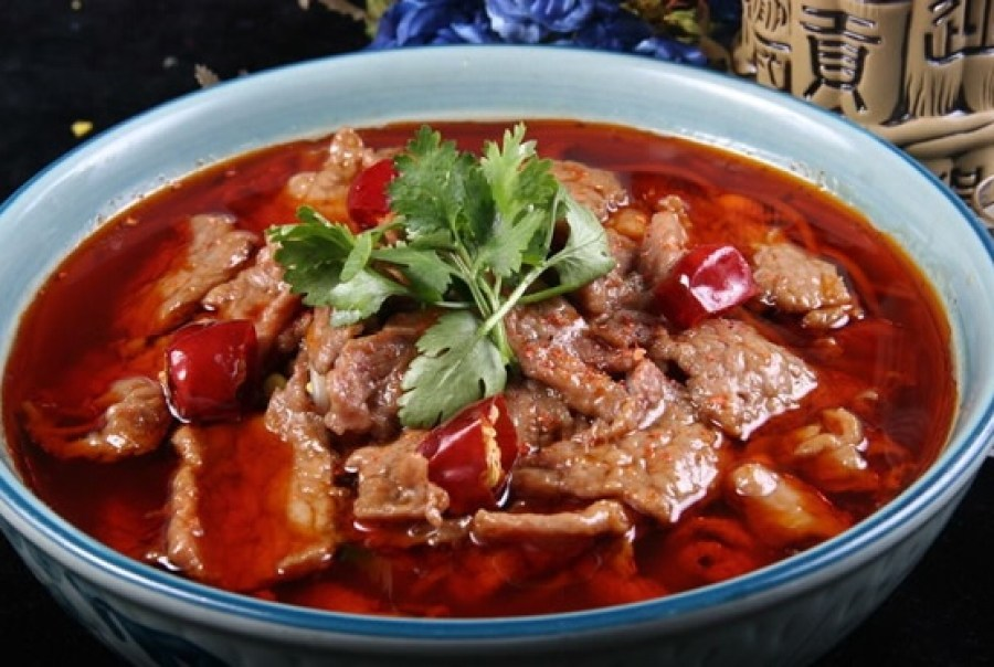 Poached Beef in Hot Sauce Shui Zhu Niu Rou, 水煮牛肉