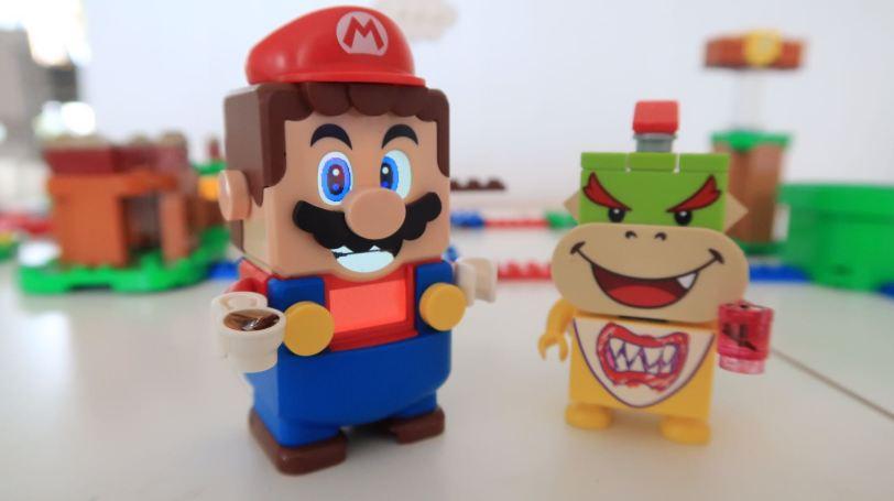 Lego Mario with Lego Bowser Enjoying a Cup of Tea