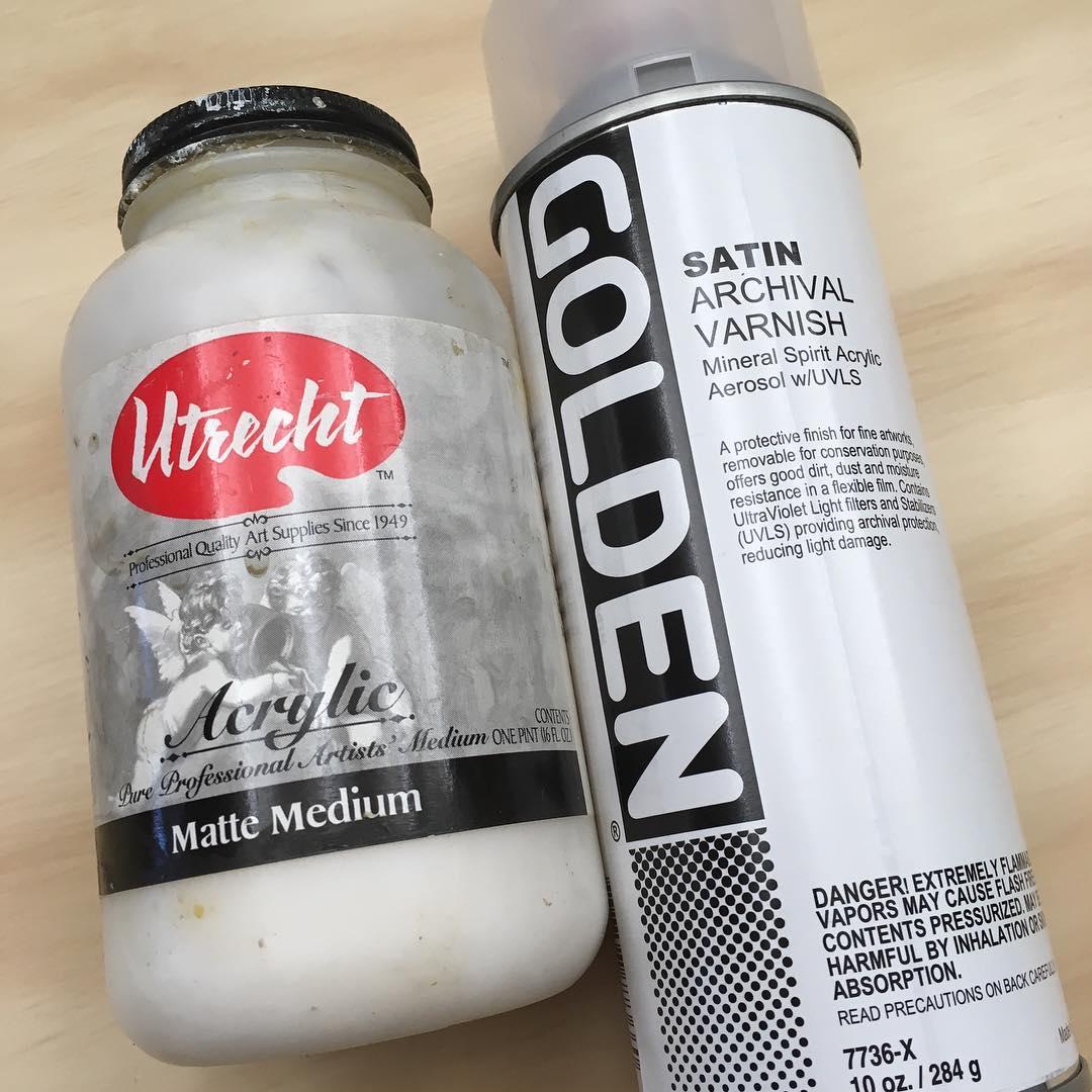 Matte medium and spray varnish