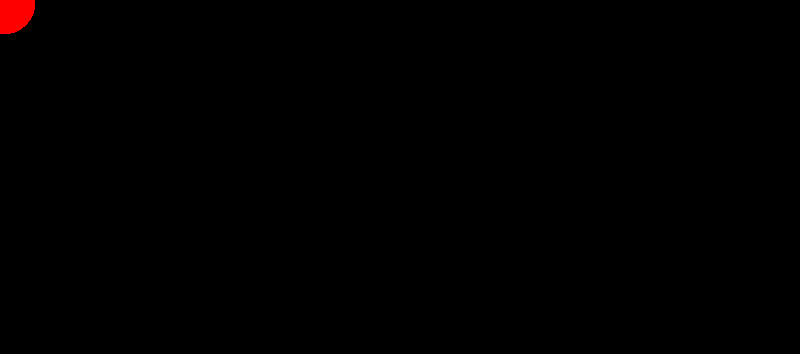 Black rectangle with alarming red dot in the top-left corner.