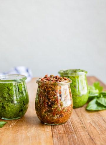 Hemp Seed Pesto 3 Ways: Classic Basil, Balsamic Sun-Dried Tomato + Lemon Parsley