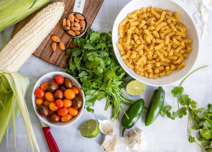 Jalapeño Cilantro Pesto Rotini with Grape Tomatoes and Sweet Corn