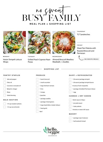 No-Fuss Meal Plan: 5 Fresh Summer Dinners + A Printable Shopping List