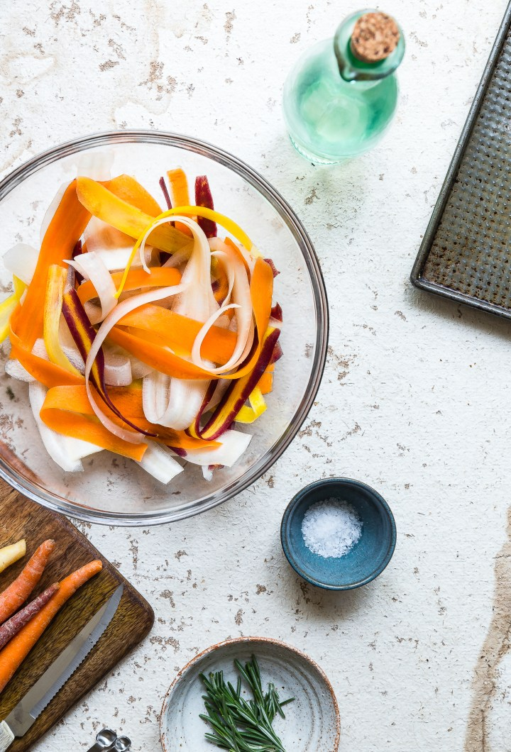 Baked Carrot Crisps with Rosemary and Sea Salt