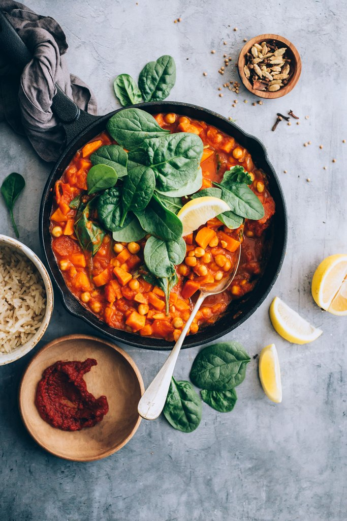 Moroccan-Inspired Sweet Potato and Chickpea Stew with Spinach