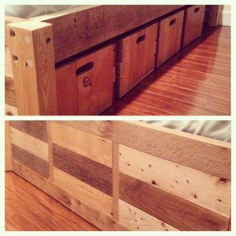 Detail of Basic Bed Frame with 4x4 Post Ends + Crate Drawers with Slot Handles # 5