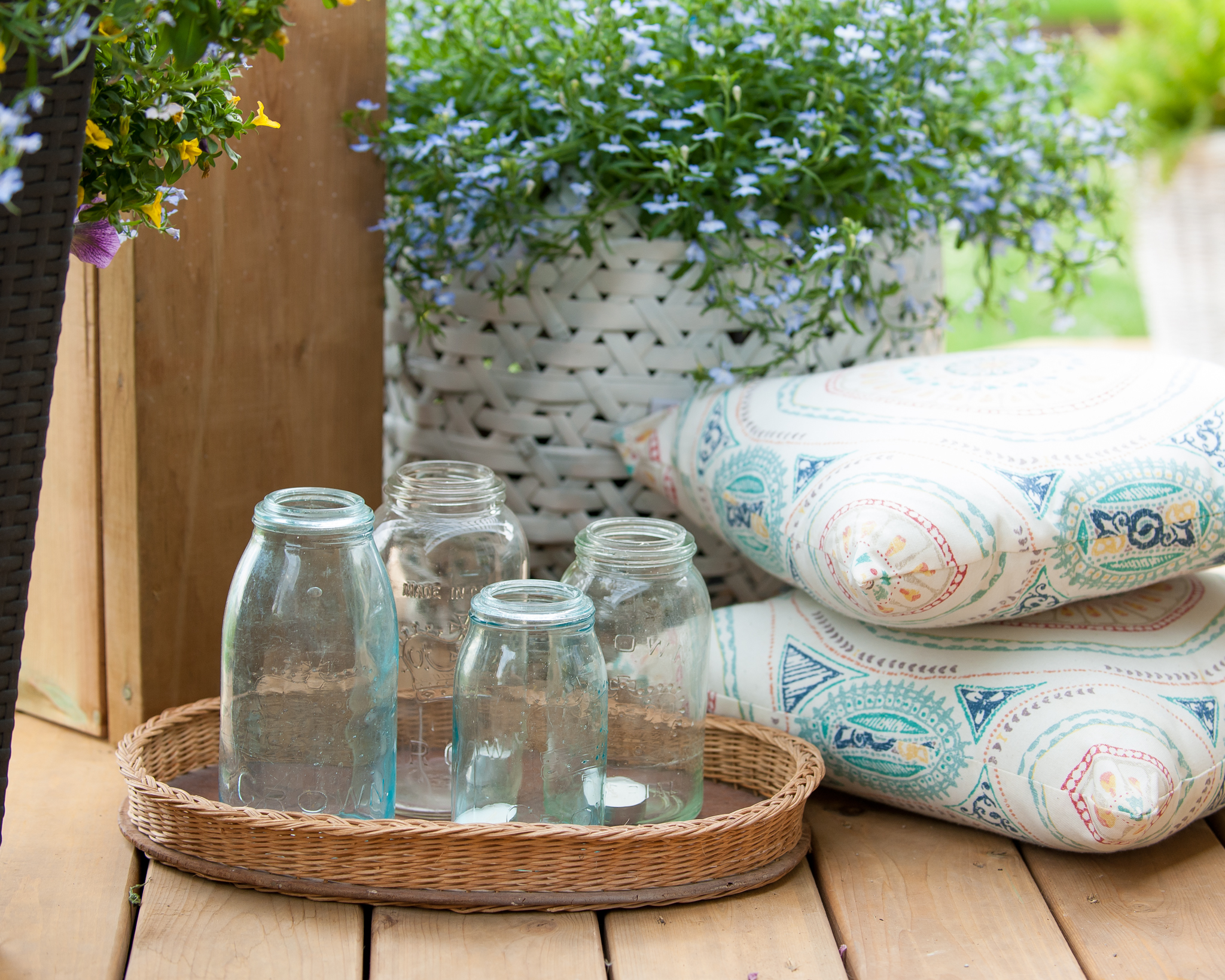 A stylish tray of glasses ready for when guests arrive.
