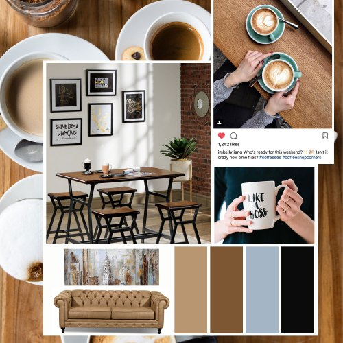 coffee inspired decor mood board