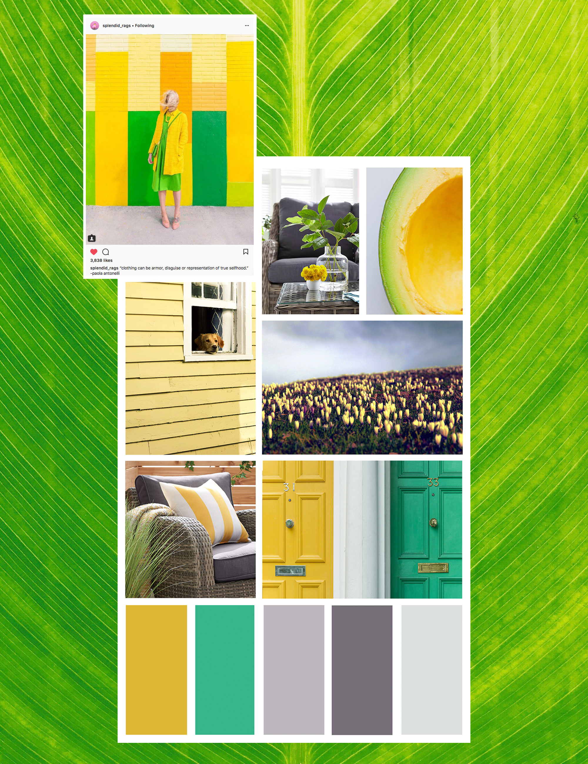 yellow and green decor mood board