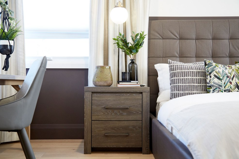 home to win season 3 master bedroom, driftwood dresser and nightstand