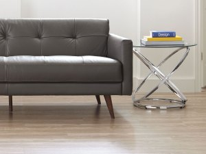 A sofa and end table fitting perfectly together