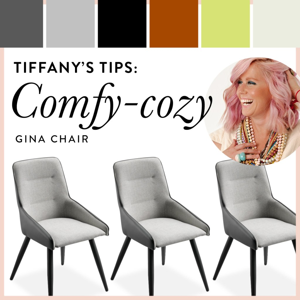 Modern Gina chair is shown with warm colours