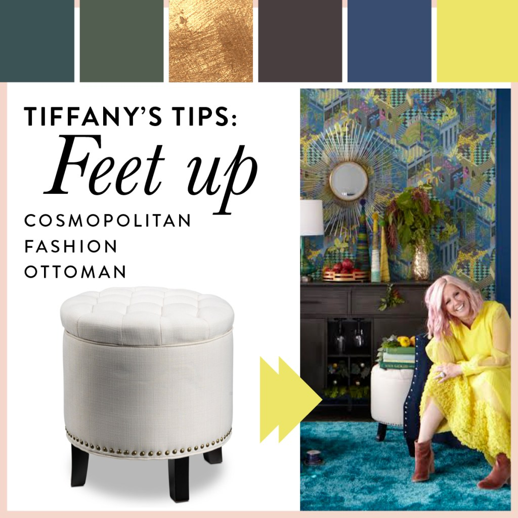 The white storage ottoman can also be used for storage, too.