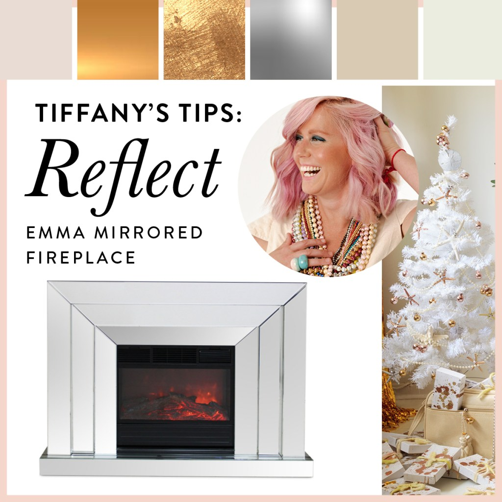 Mia mirror fire place shown with metallics and soft neutrals