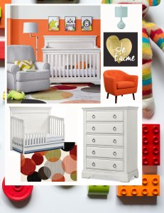 baby nursery orange mood board