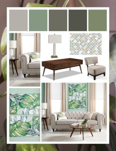 Green Mood Board with monstera decor theme