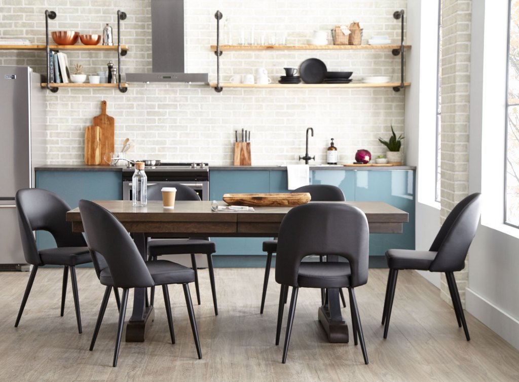 Industrial look kitchen table and chairs dining set