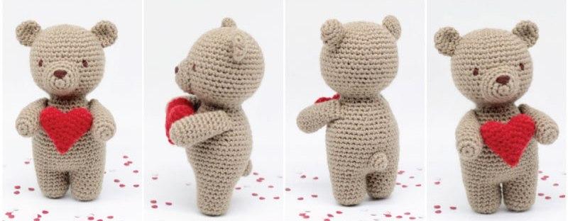 Valentine's Teddy Bear crochet PATTERN: Amigurumi Bear + pattern ... | 312x800
