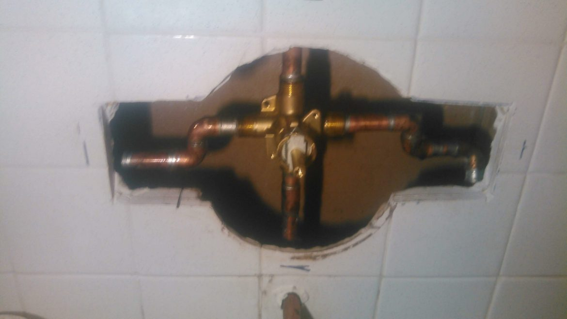 before shower repair single valve shower faucet installation holes cut in tile wall copper pipes and valve body
