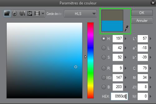 la couleur choisie est comparée à l'ancienne couleur