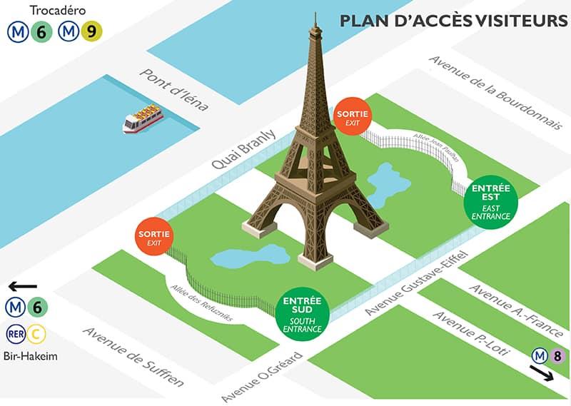Eiffelturm Paris Eingänge