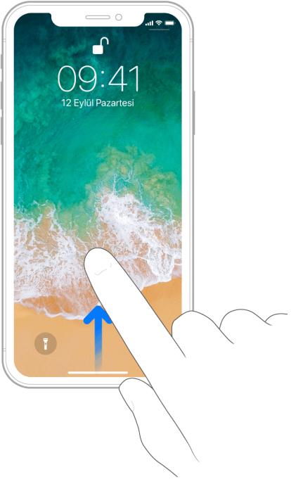 Kilitli ekranın alt kısmından yukarı kaydıran bir parmağın resmi.