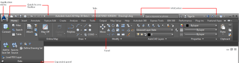 The Ribbon   AutoCAD Map 3D   Autodesk Knowledge Network Tabs are like horizontal menus  Click a tab to see the commands associated  with it  Sets of related commands are grouped in panels