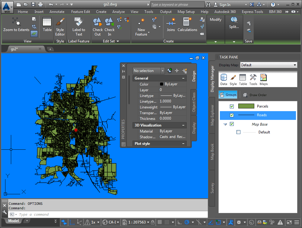 Lesson 2  Take a Quick Tour of AutoCAD Map 3D Toolset   AutoCAD Map     The AutoCAD Map 3D toolset window