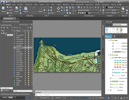 About Layers in Your Map   AutoCAD Map 3D   Autodesk Knowledge Network This map contains both AutoCAD layers  on the left  and Display Manager  layers  on the right