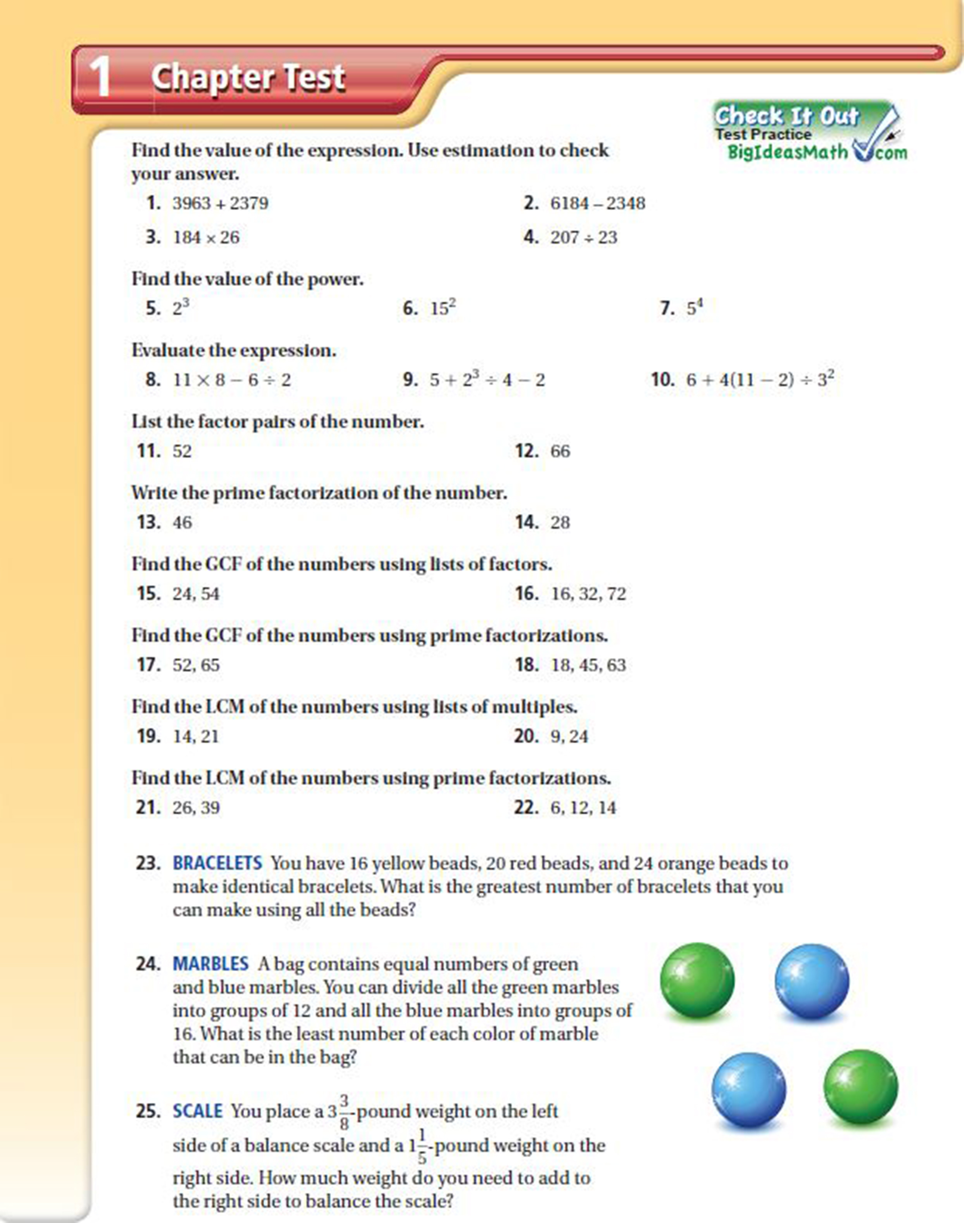 What Is The Chapter Test Big Ideas Math