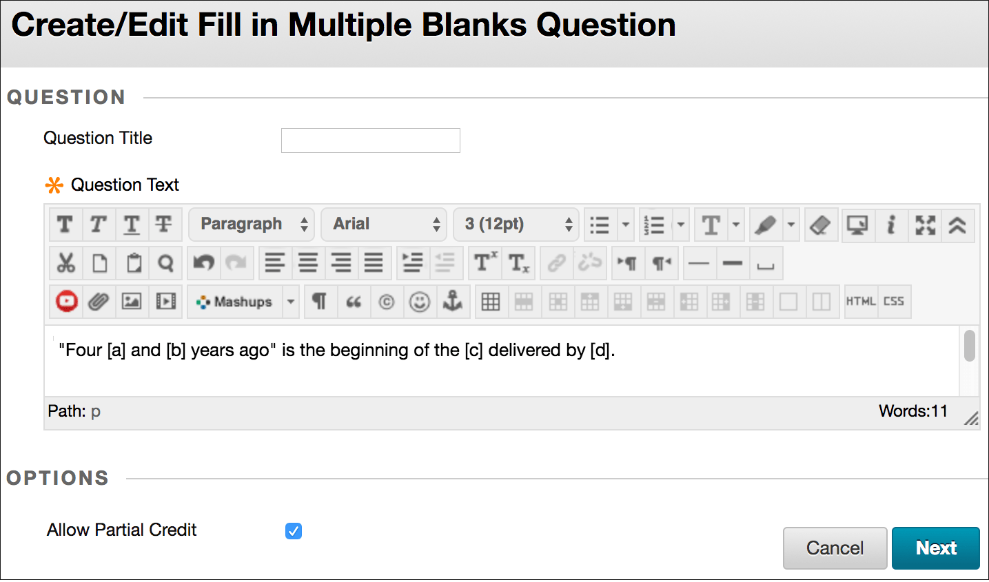 Fill In Multiple Blanks Questions
