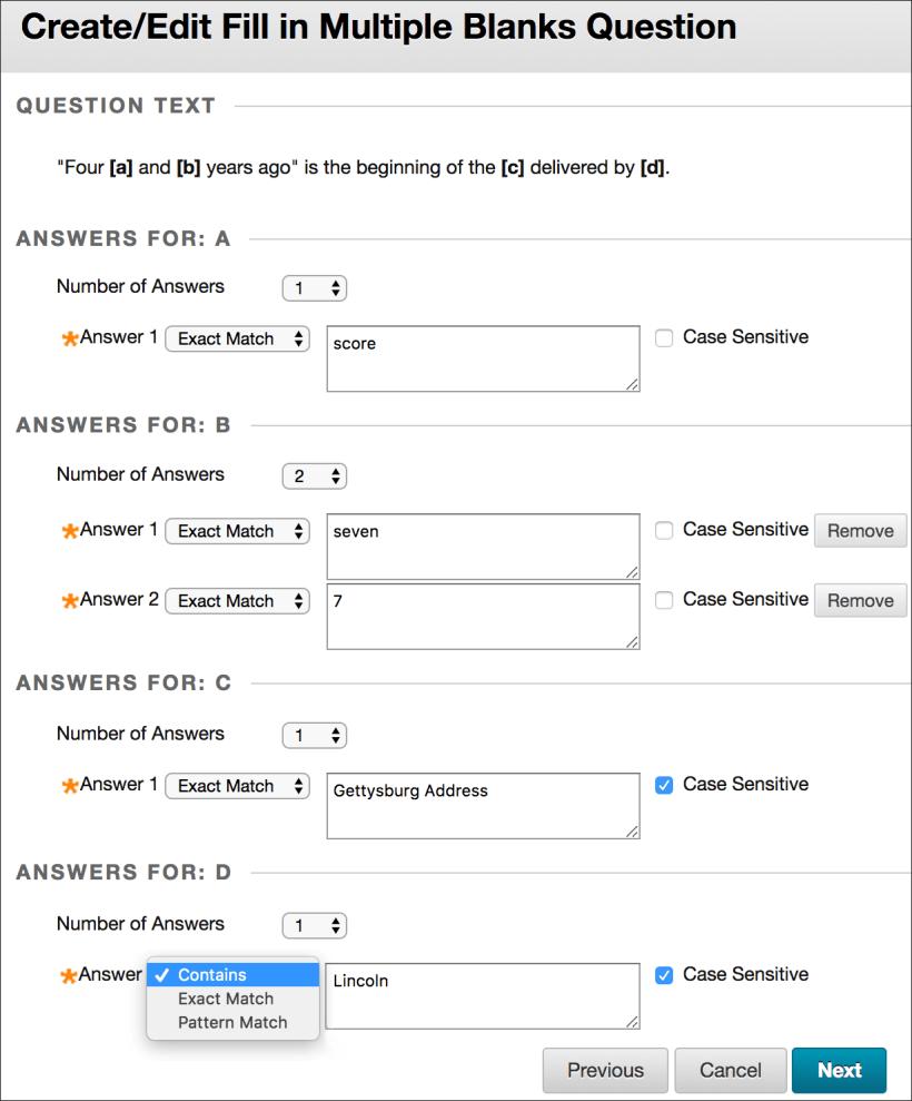 fill in multiple blanks questions blackboard help