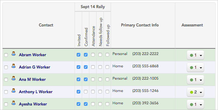 Check-offs are used here to show who's been invited and confirmed attendance to the September 14th rally.