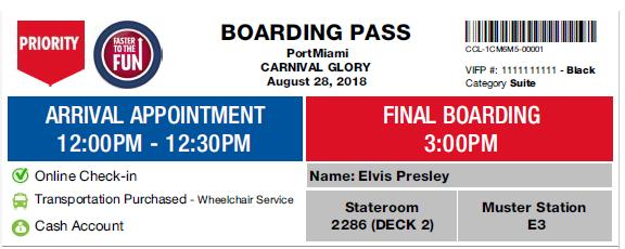 Carnival boarding pass with faster to the fun stamp