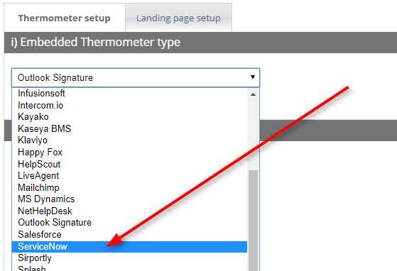 Setting Up A ServiceNow Thermometer Customer Thermometer User Guide