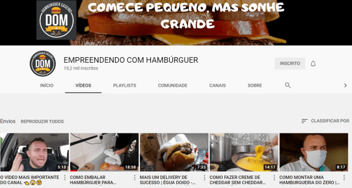 canal do youtube da hamburgueria do dom