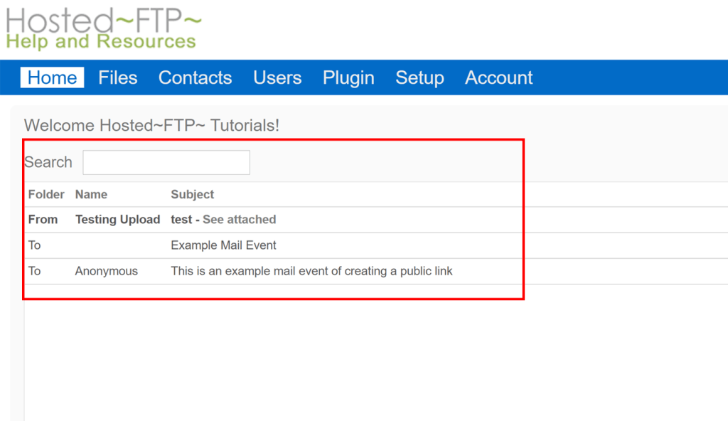 review your sent and received mails to your FTP through the event list