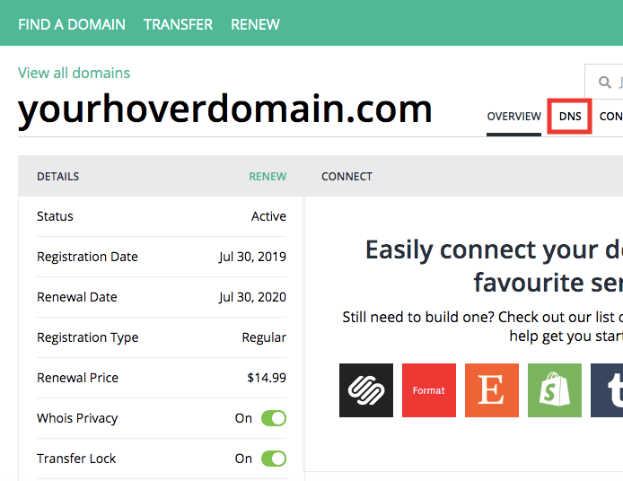 Connect Hover Domain to Shopify - DNS tab