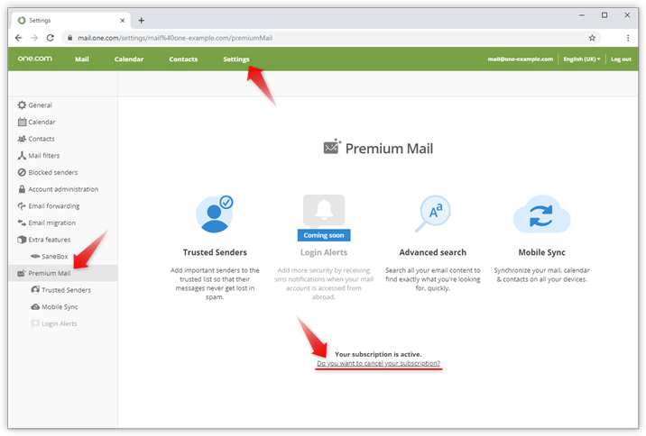 how do i cancel premium mail support