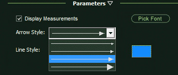 VizTerra Panel Parameters Measure Tool Options