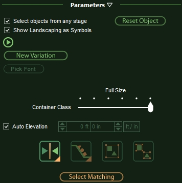 VizTerra Panel Parameters for Selecting Matching Objects