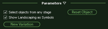 VizTerra Panel Parameters for Showing Landscaping Items as Symbols