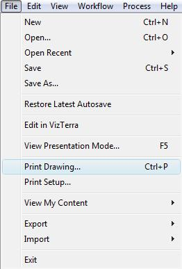 Pool Studio File Menu Print Drawing Option