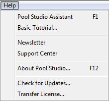 Pool Studio Help Menu Check for Updates