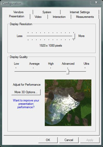 VizTerra Adjusting Display Quality in the Configuration Menu
