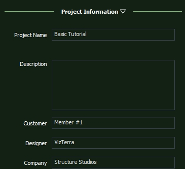VizTerra Tutorial Step 2 Project Information